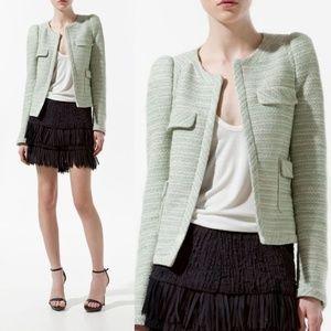 Zara Green Tweed Jacket